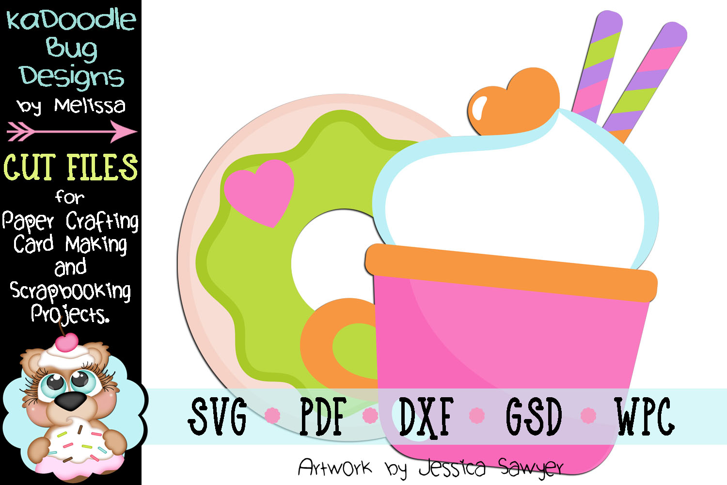 Good Morning Goodies Donut Coffee Cut File - SVG PDF DXF GSD example image 1