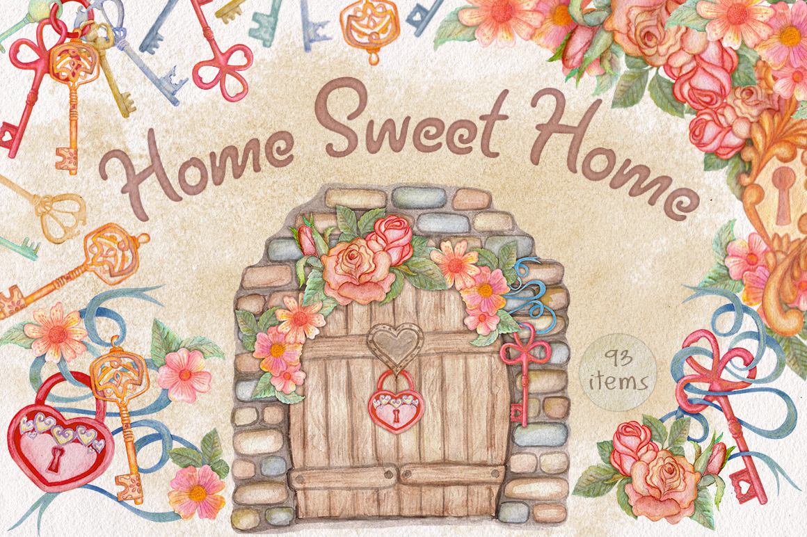 Home Sweet Home. Keys, floral watercolor wonderland collection example image 1