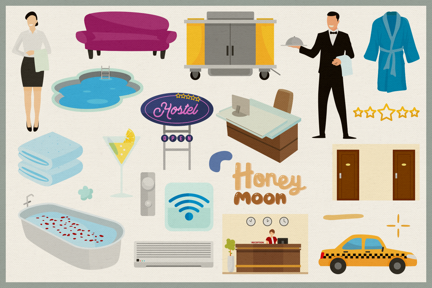 Hotel Service Vector Clipart & Seamless Patterns example image 3