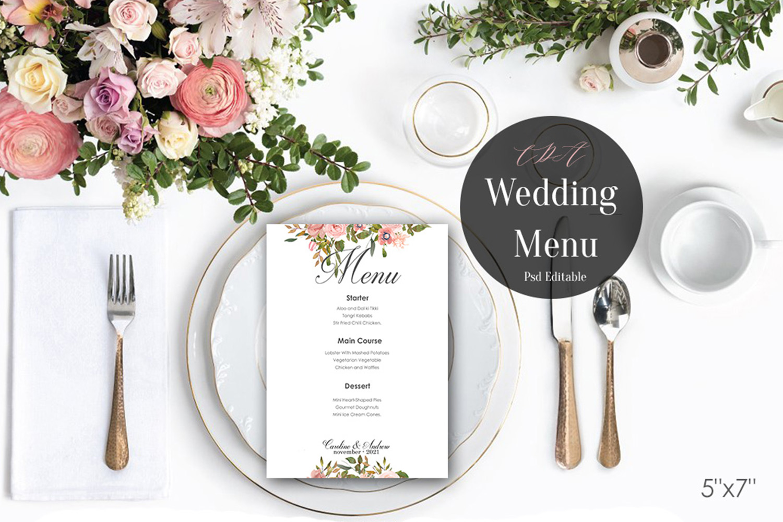 Vintage Wedding Menu Template   PSD Instant Download example image 4