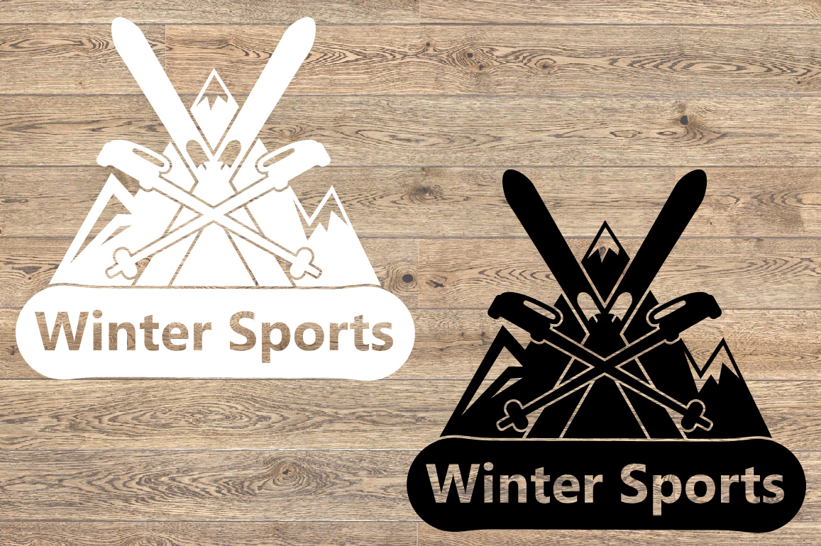 Winter Sports Logo Mountains Ski Side svg 1066s example image 3