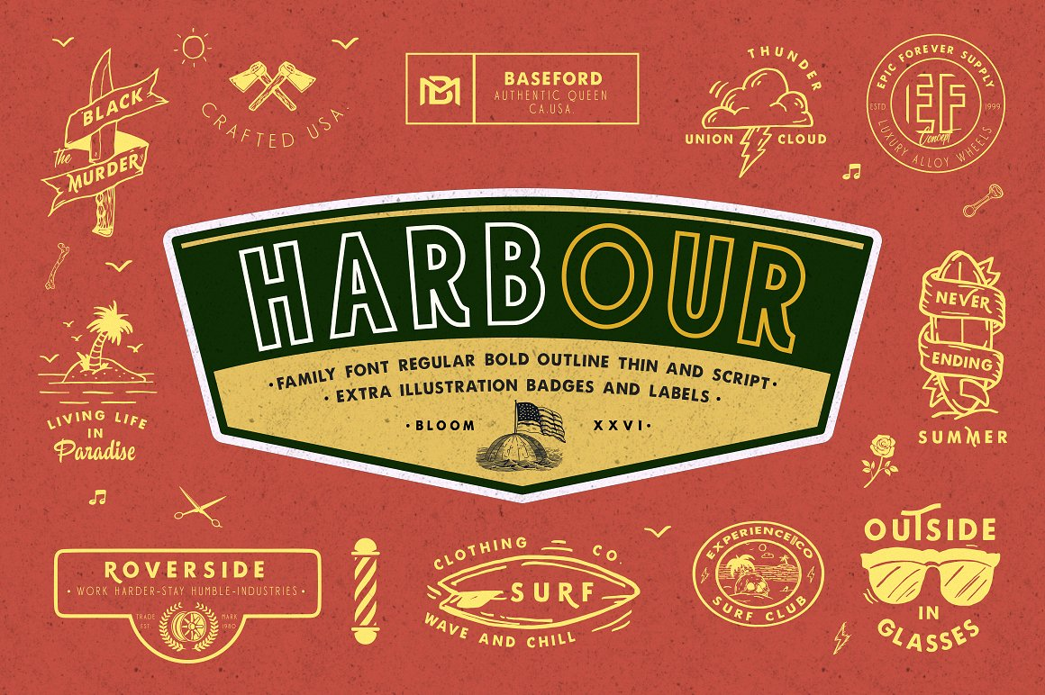 Harbour 5 Font Family & Extra Badges, illustration  example image 1