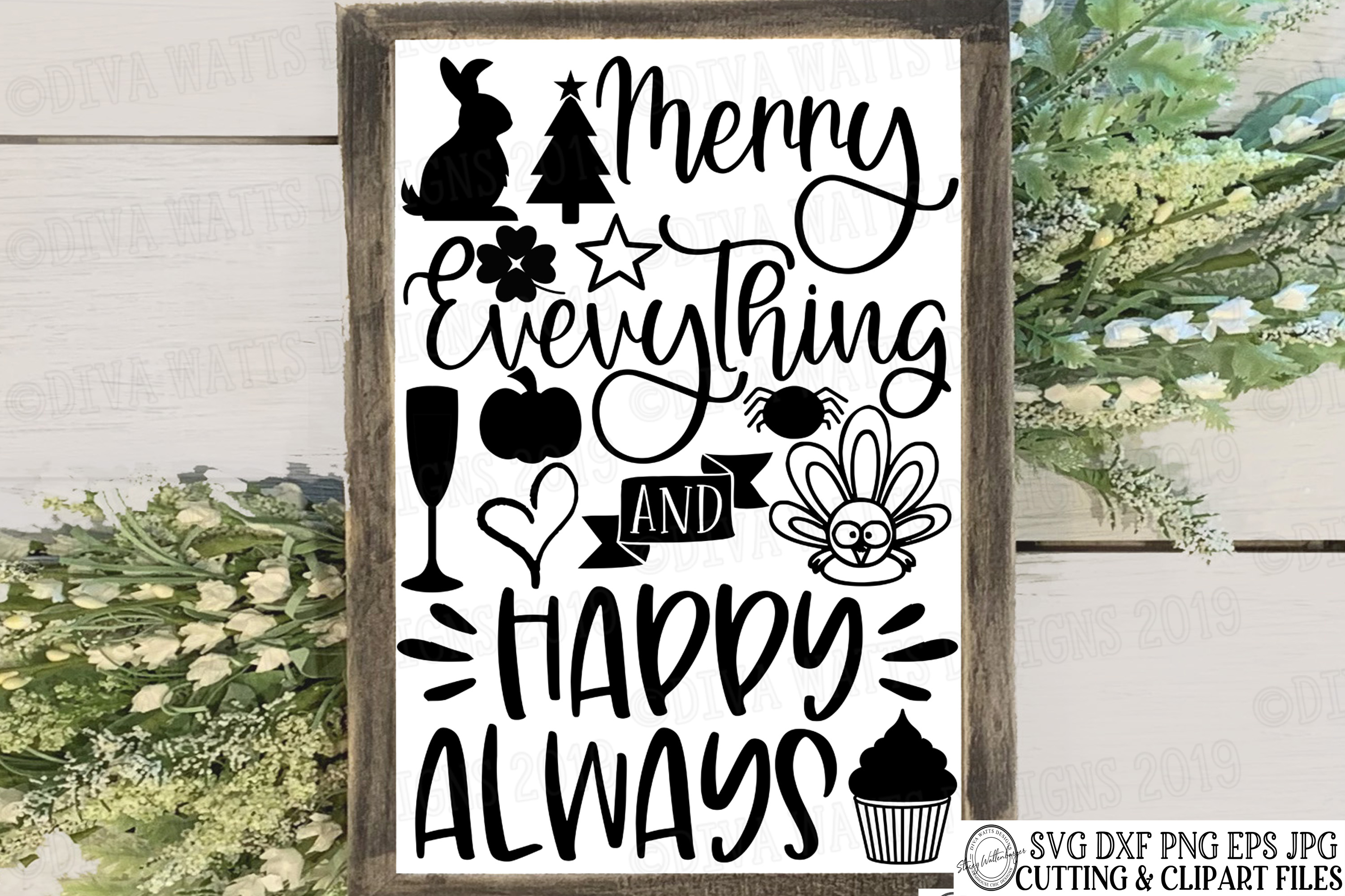 Merry Everything and Happy Always Cutting File for Holidays example image 1