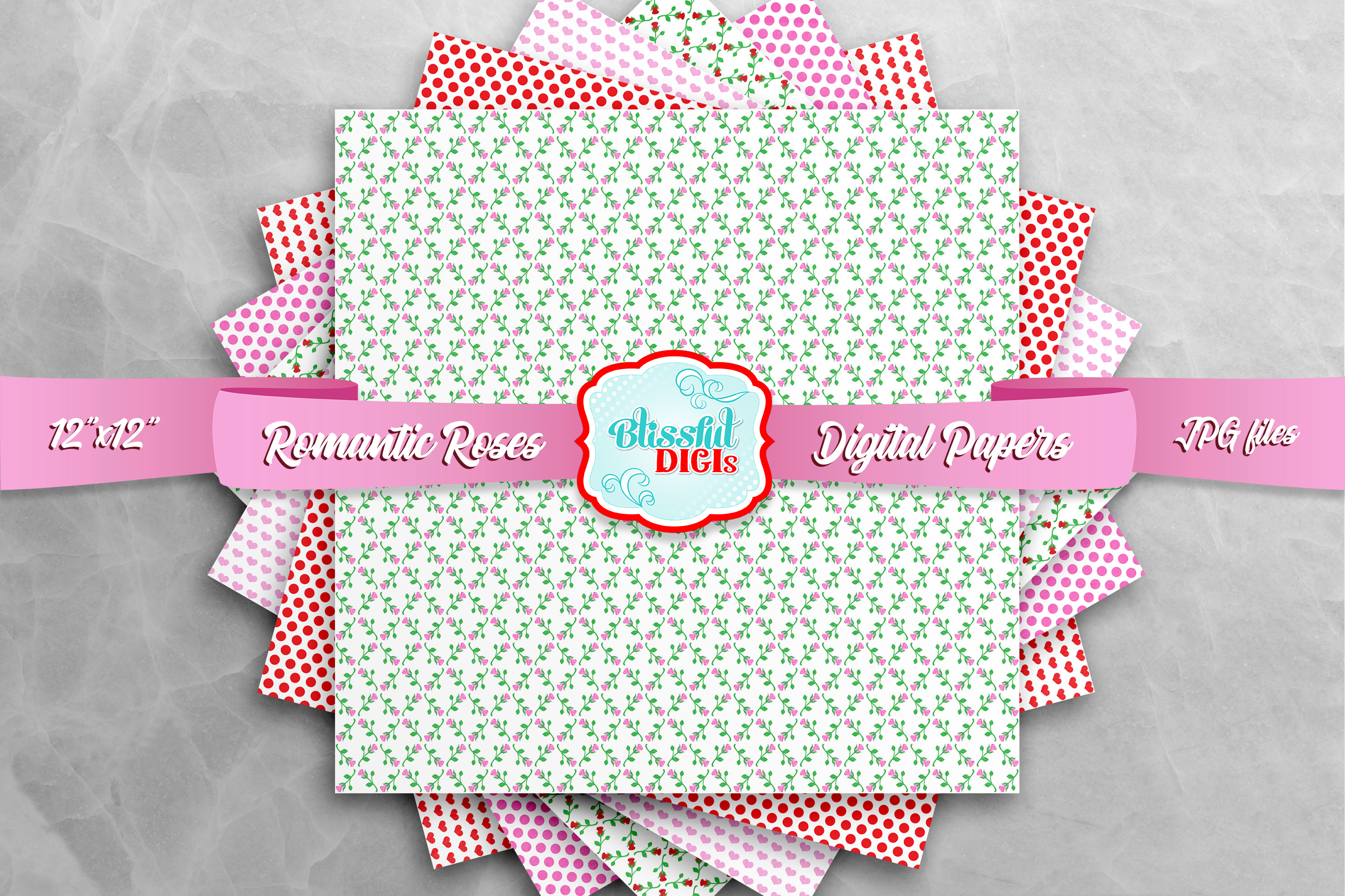 Digital Papers Bundle - Romantic Roses - JPG example image 3