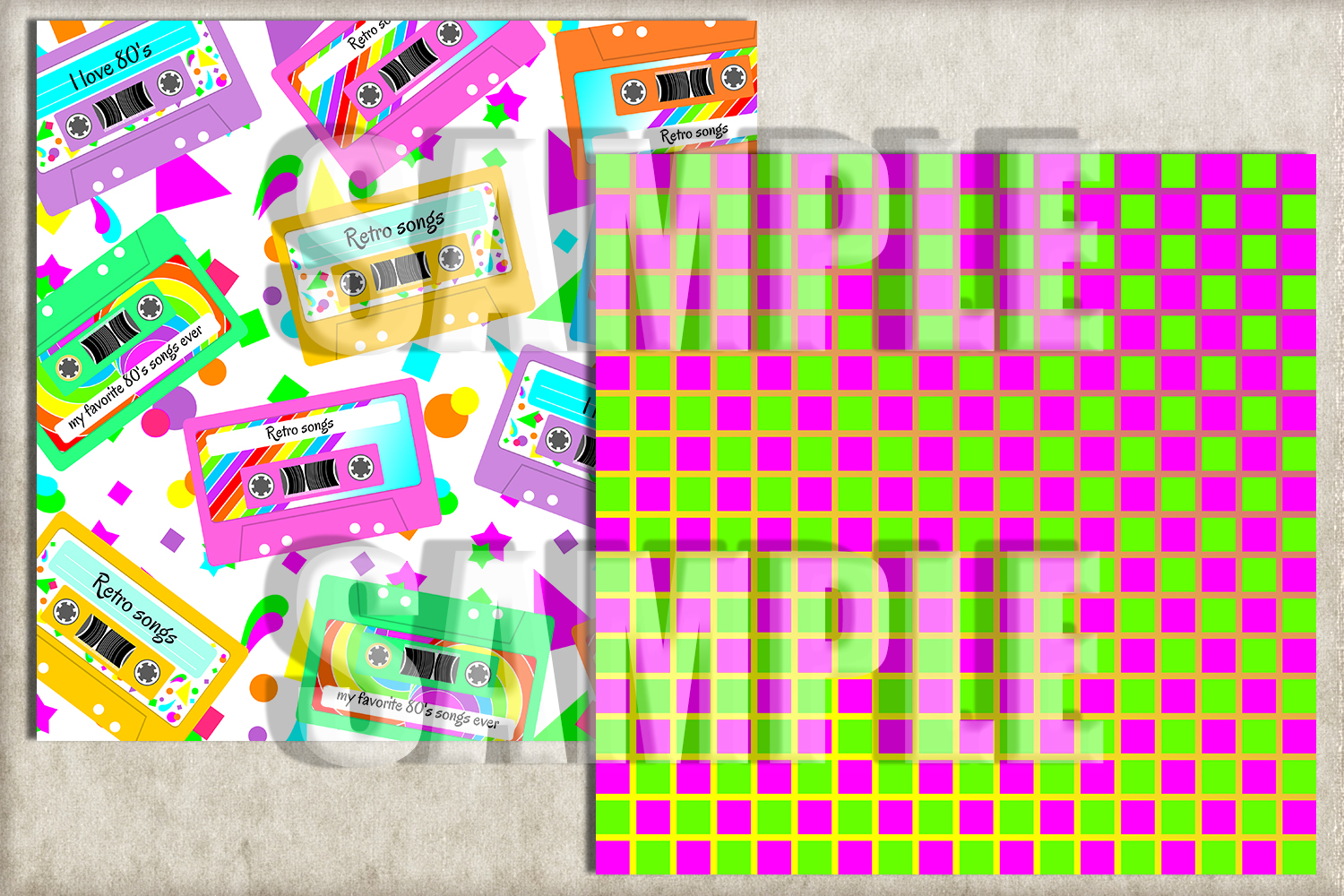 I LOVE 80's Digital Paper, Digital Background example image 2