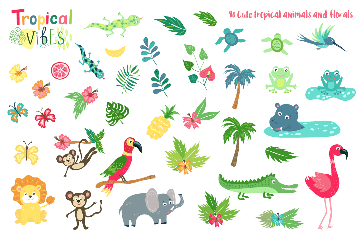 Summer Tropical Cute Vector Pack example image 3