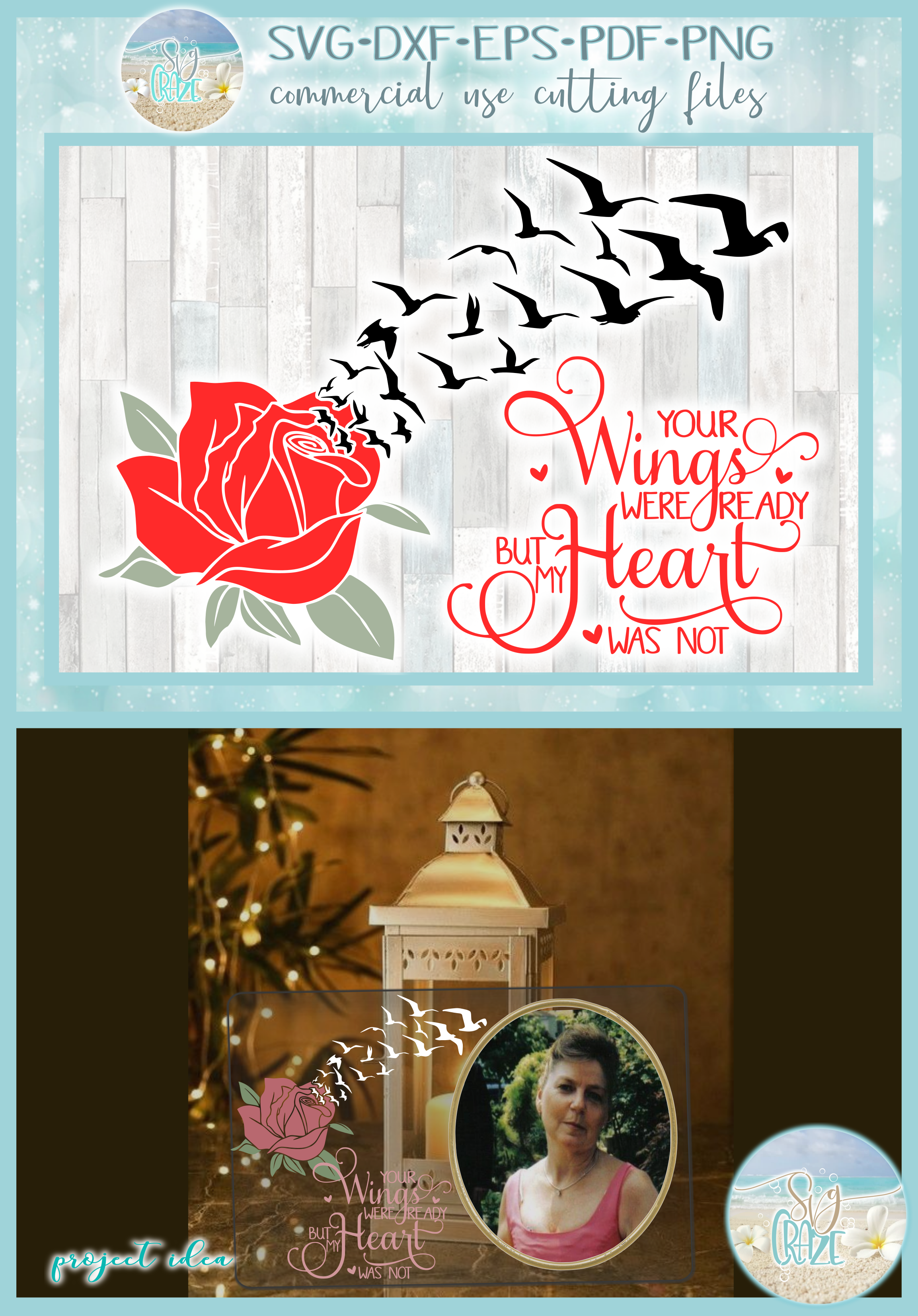 Your Wings Were Ready But My Heart Was Not with Rose SVG example image 4