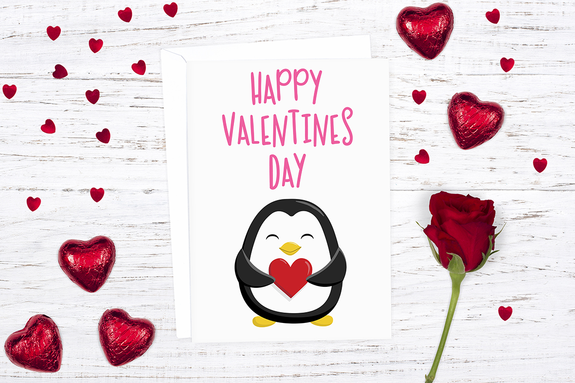 Valentines Penguin Clipart Illustrations example image 3
