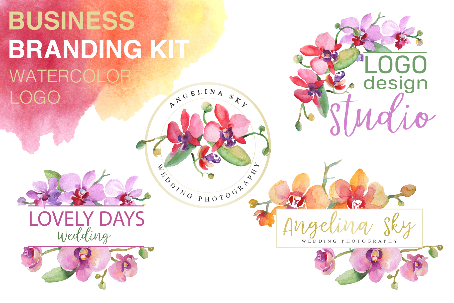 LOGO with beautiful orchids Watercolor png example image 1