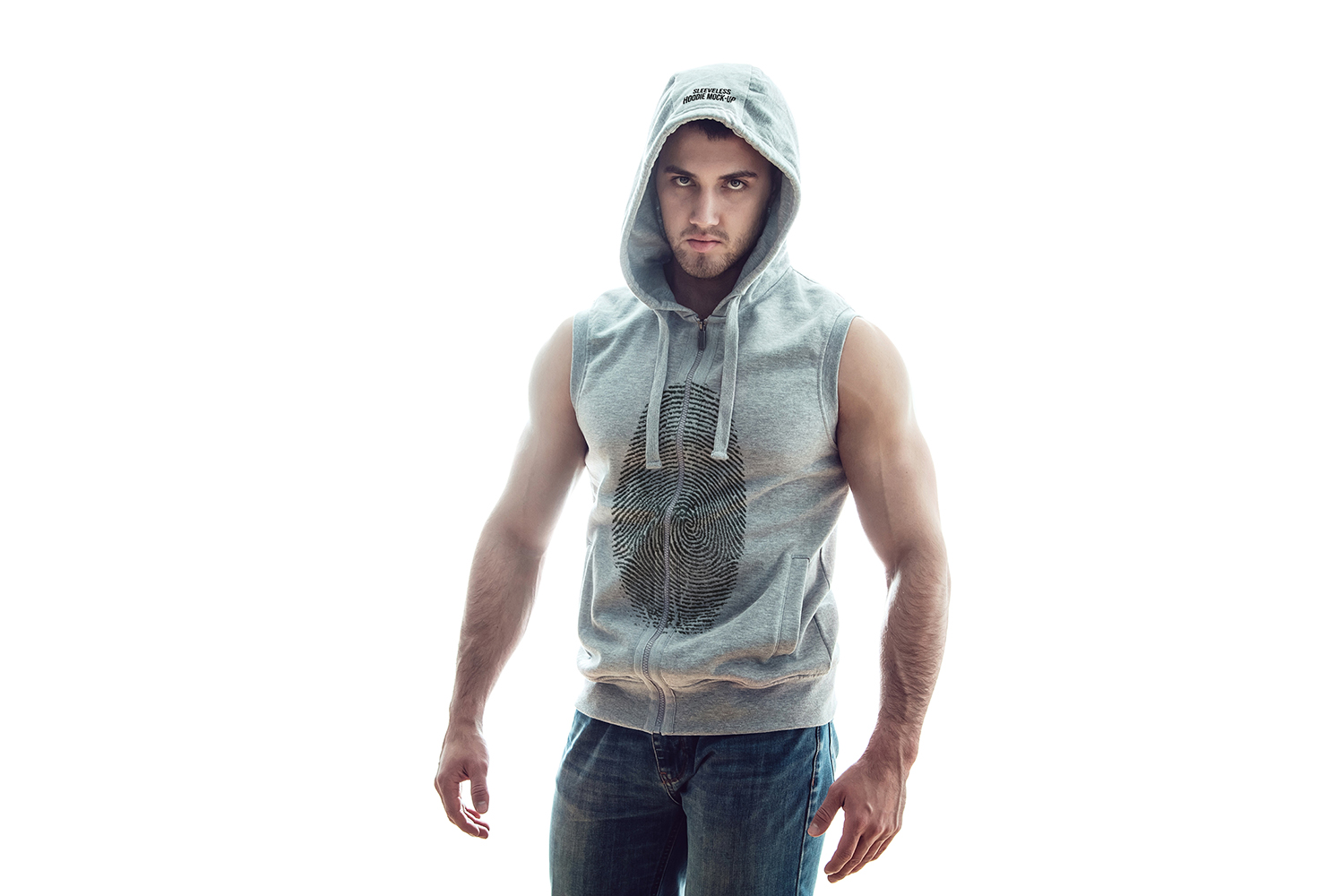 Sleeveless Hoodie Mock-Up example image 7