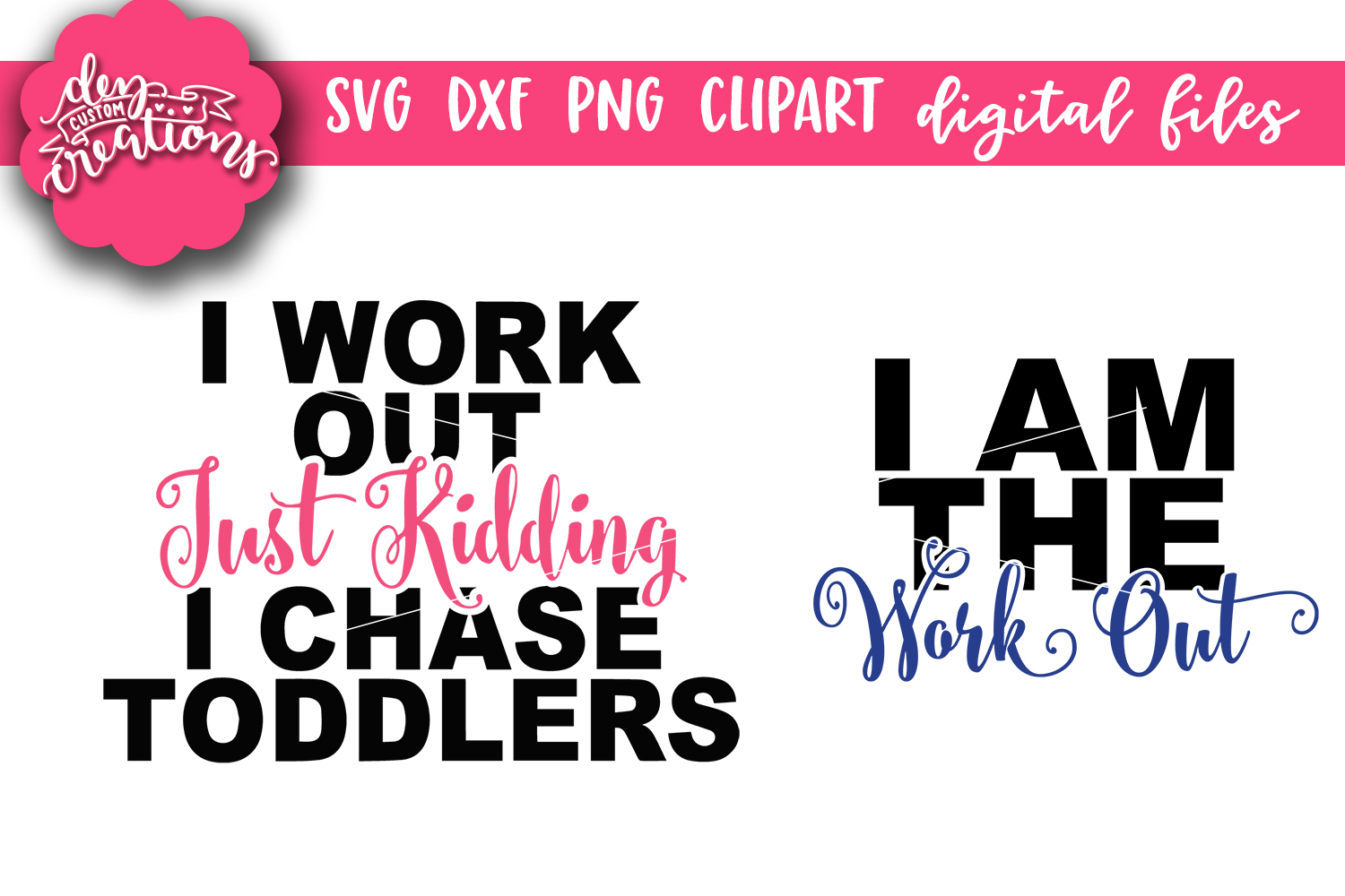 Mommy & Me Workout Designs - SVG - DXF - PNG - Cut Files example image 2