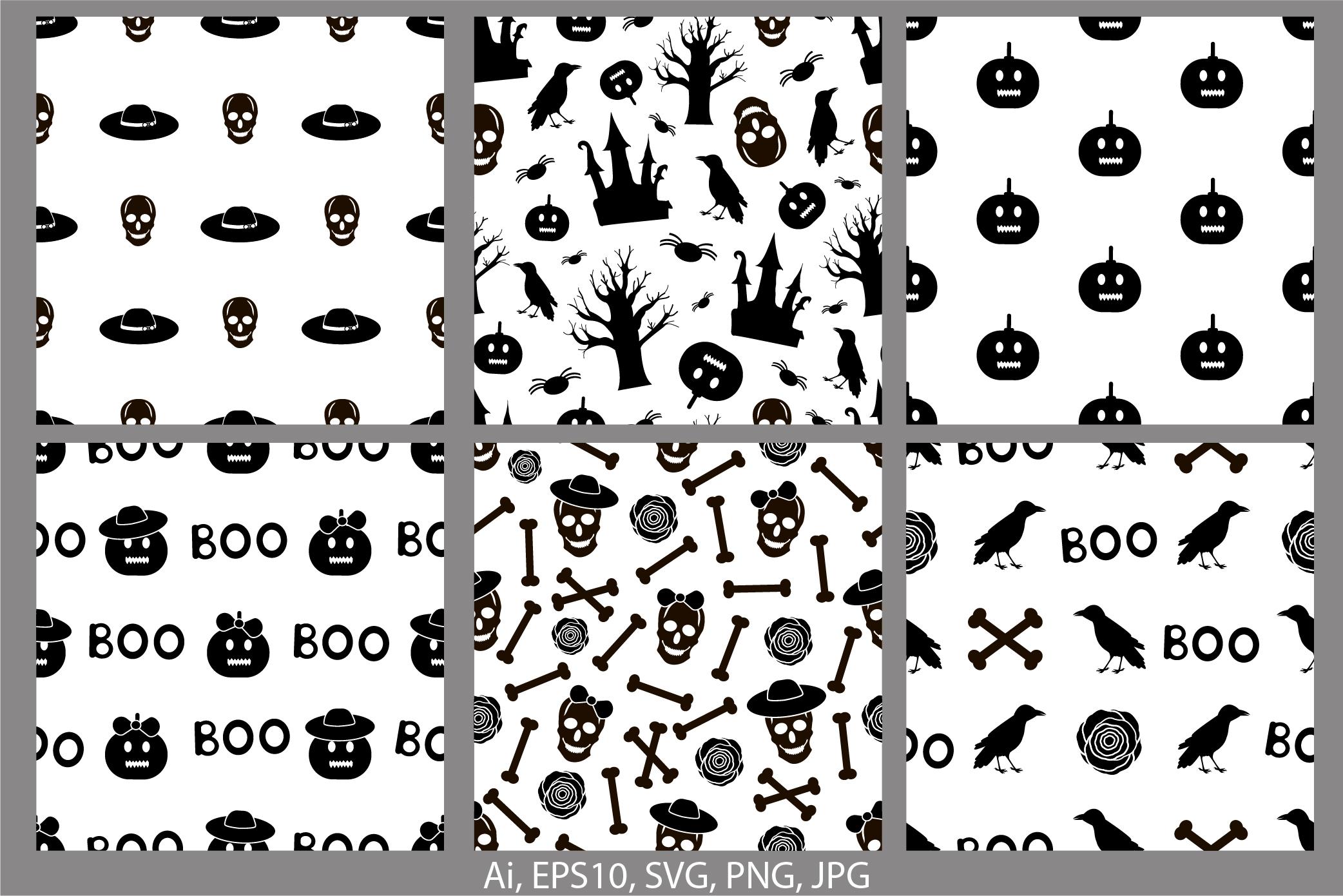 Halloween seamless patterns. Ai, EPS10, JPG, SVG example image 1