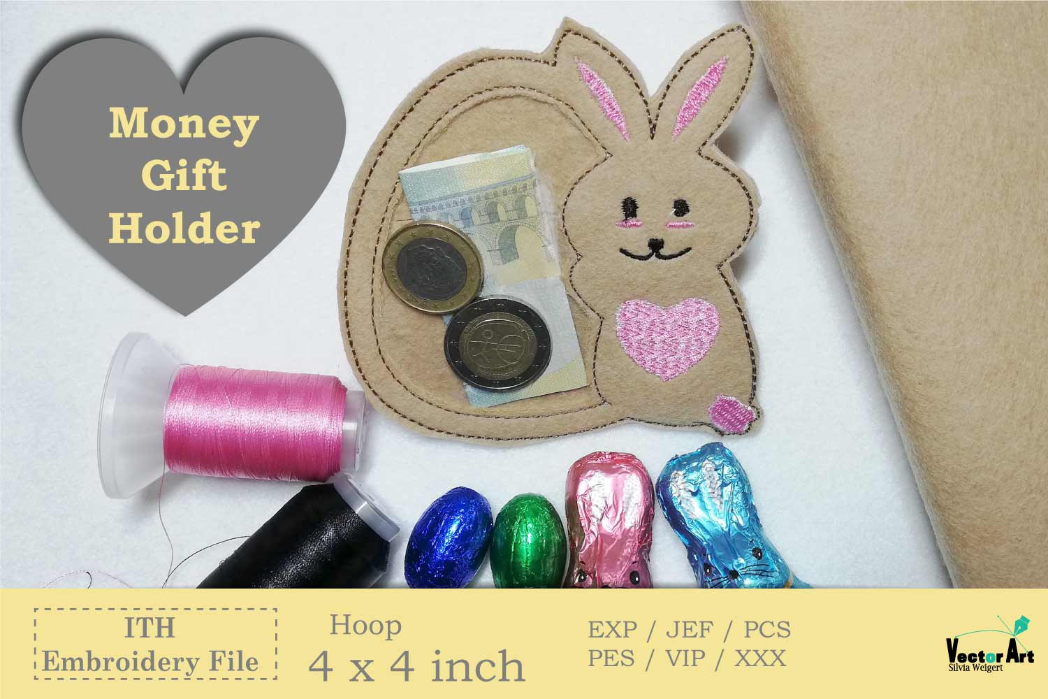 ITH - Bunny with Egg - Great Idea for Money Gifts example image 2