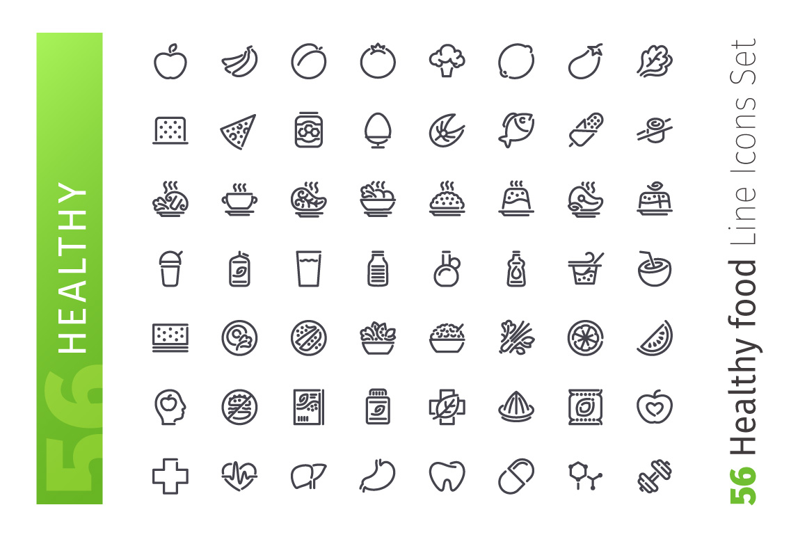 Healthy Food Line Icons Set example image 2