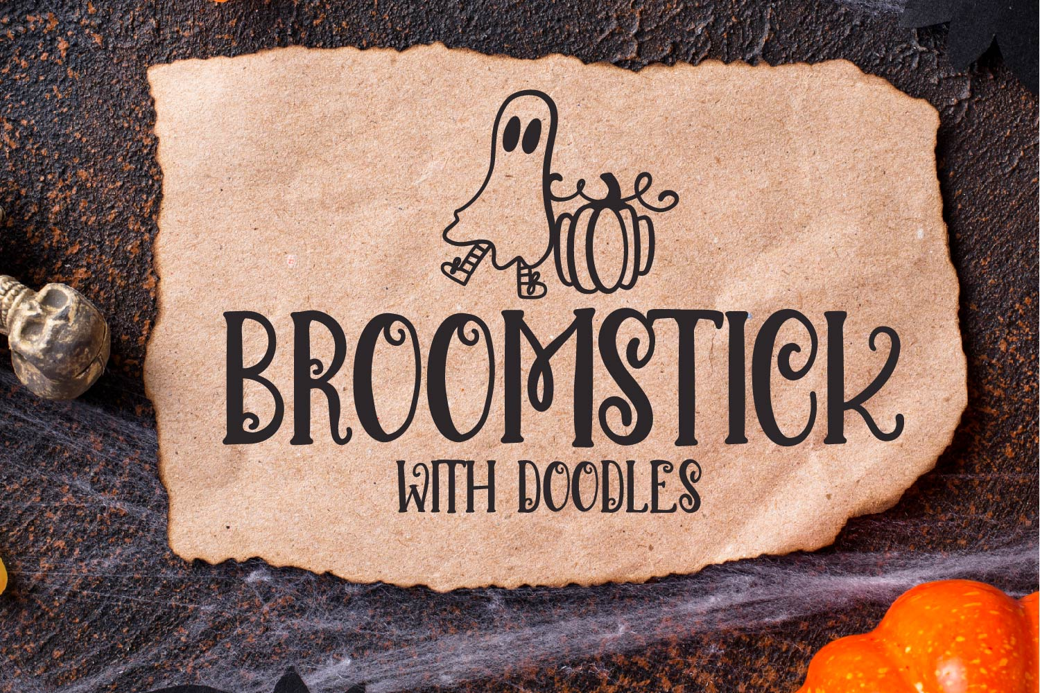 Broomstick - With Doodles - A Halloween Font Duo example image 1