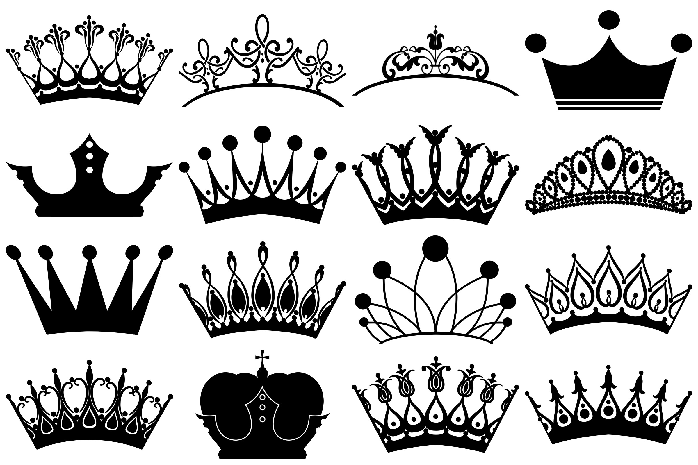 Tiara and Crown Silhouettes AI EPS PNG example image 3