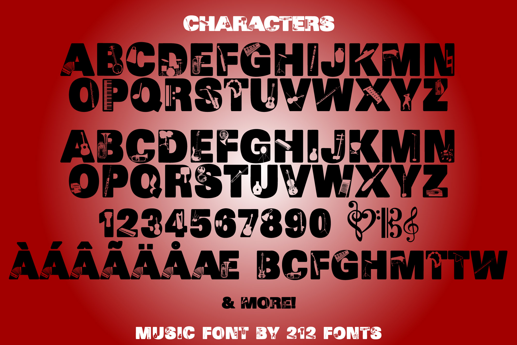 212 Music Caps Display Font Instruments Notes Alphabet OTF example image 6