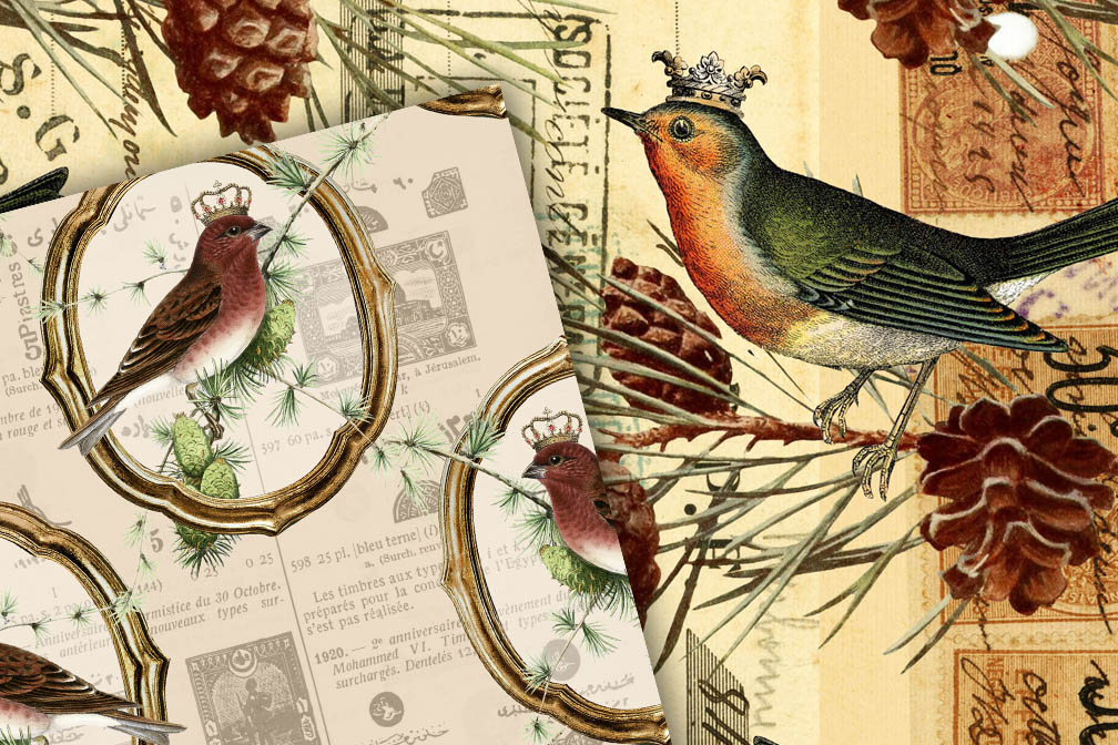 Vintage Christmas Birds Digital Paper example image 2