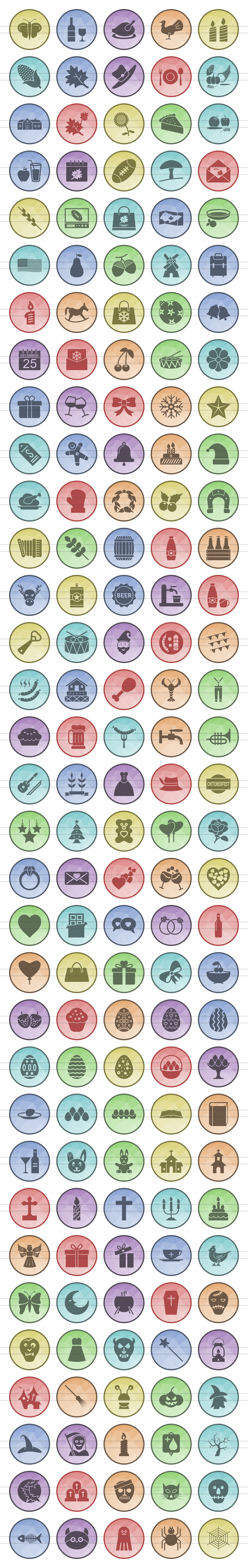 166 Observances & Holiday Filled Low Poly Icons example image 2