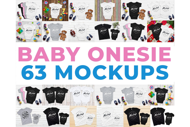 63 Baby Onesie Mockups, Kids mockup Bodysuit example image 1