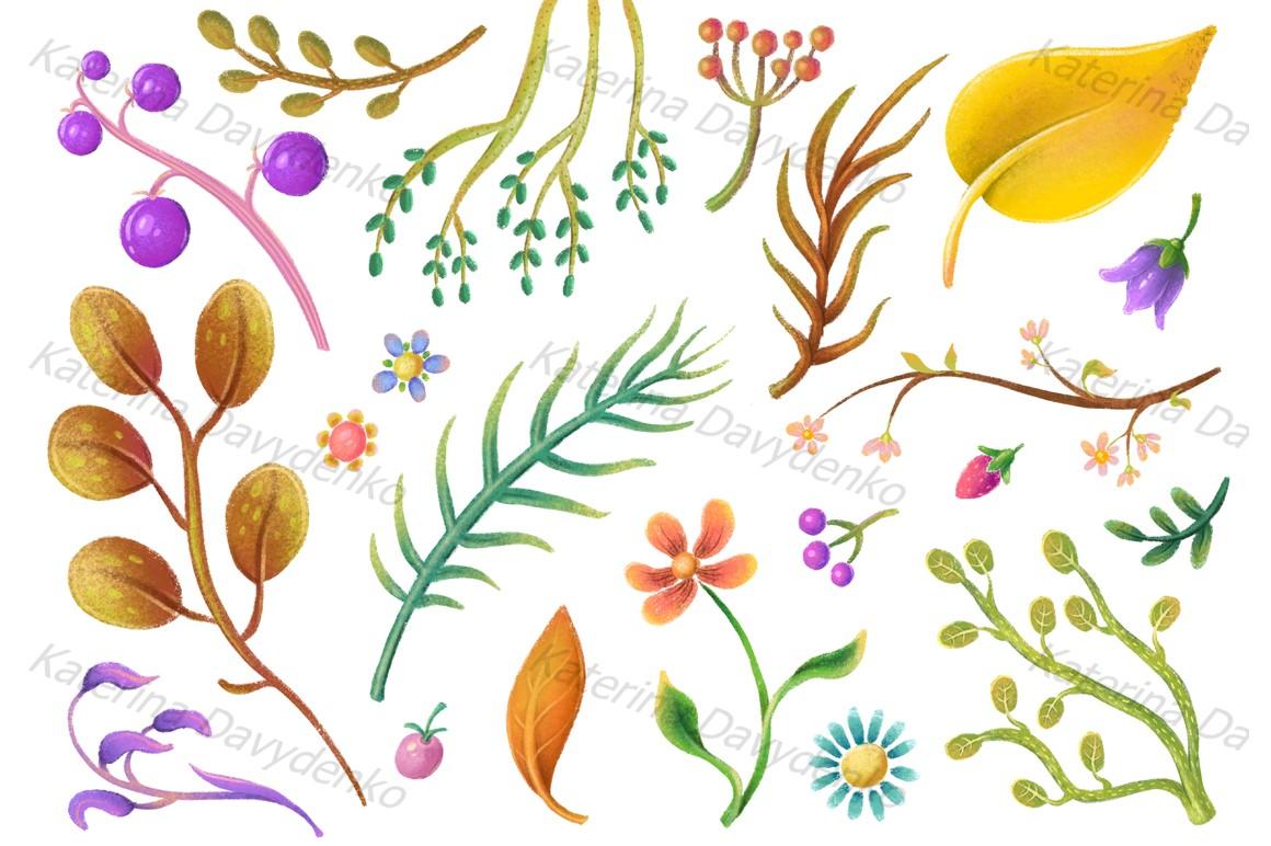 Set of pastel plant elements, flowers, leaves, flora clipart example image 2