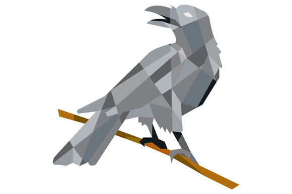 Crow Perching Looking Back Low Polygon example image 1