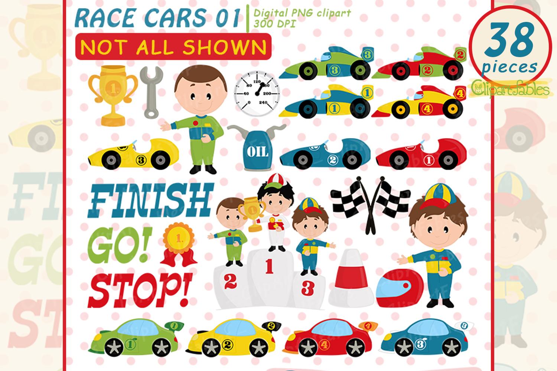 Cute race cars clipart, Racing party, Formula 1 clip art set example image 1
