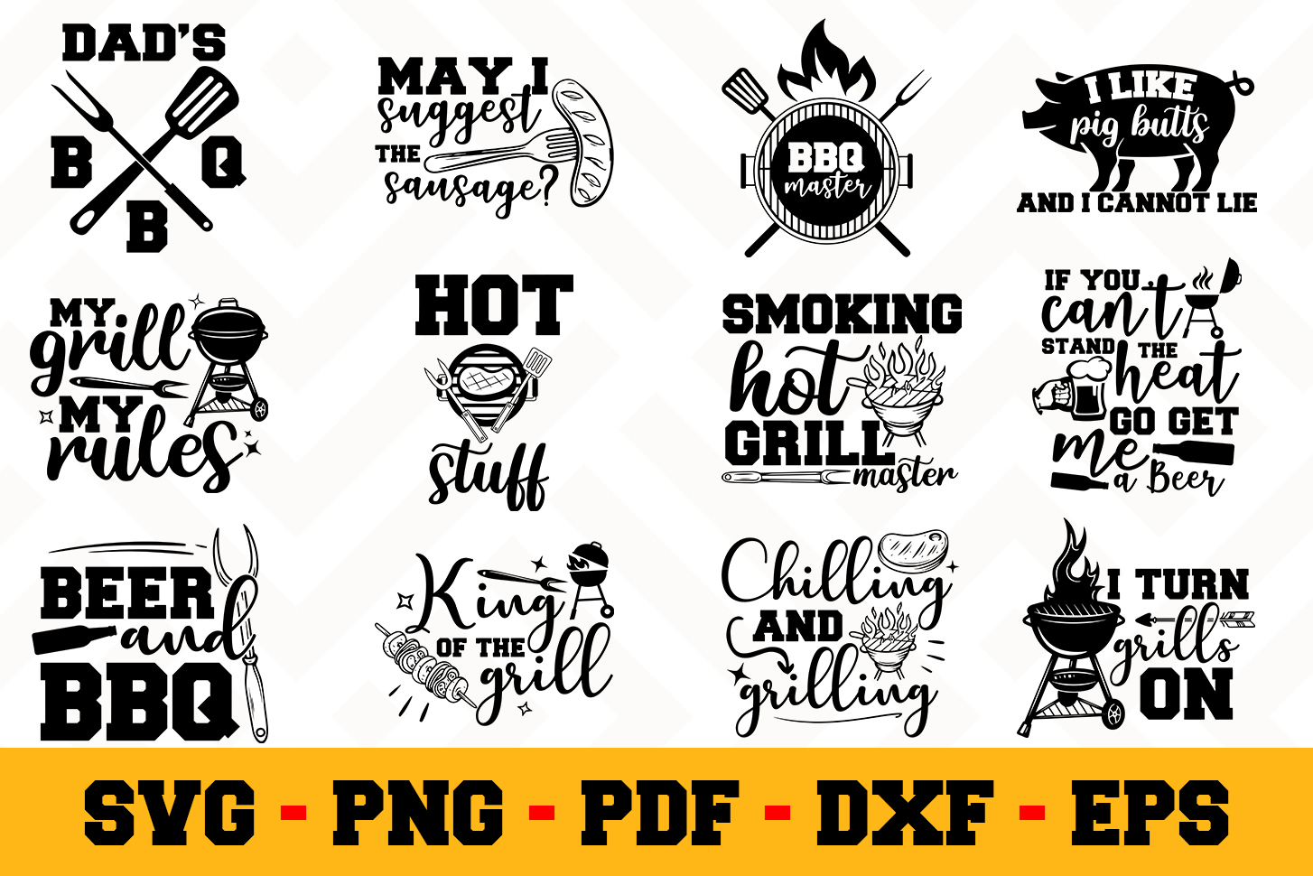 BBQ 12 Designs Pack | Barbecue SVG Bundle example image 1