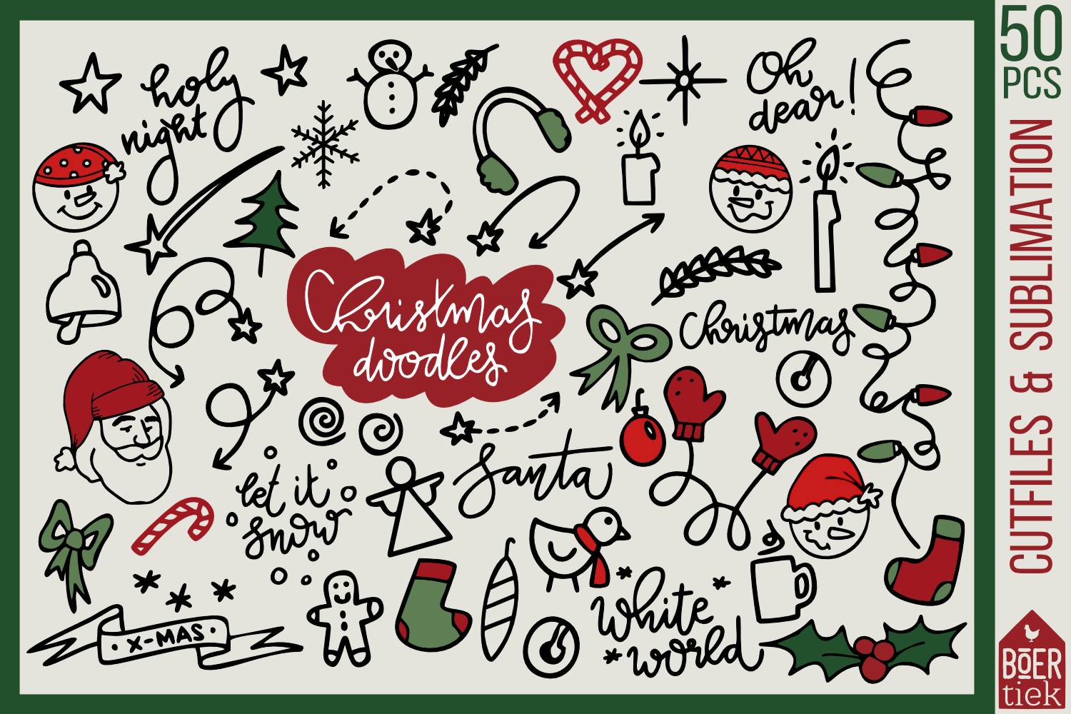 50 hand-drawn Christmas doodles, cutfiles and sublimation example image 1