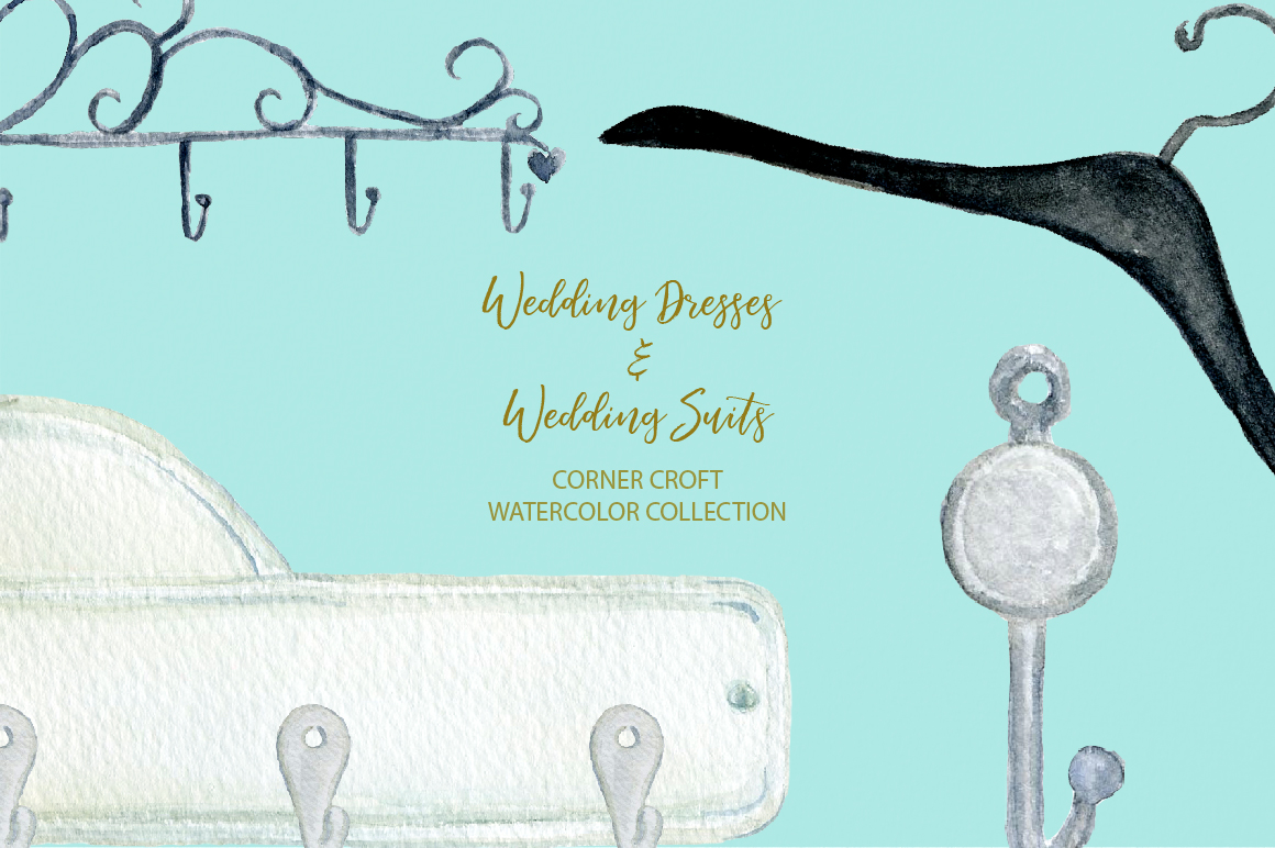 Watercolor wedding outfit on hangers and cloth hooks example image 8