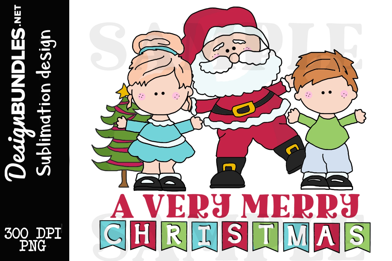A Very Merry Christmas Sublimation Design example image 1