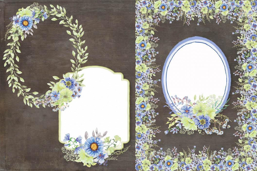 'Moody Blue' watercolor clip art bundle example image 6