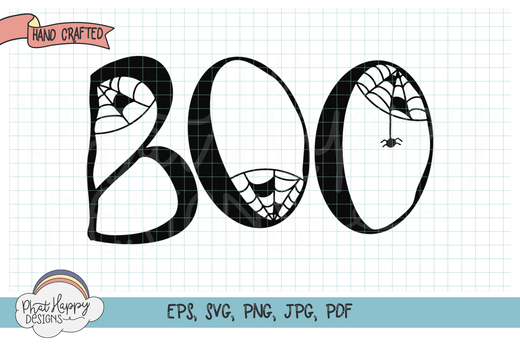 BOO Hand Lettered Halloween SVG Cut File example image 1