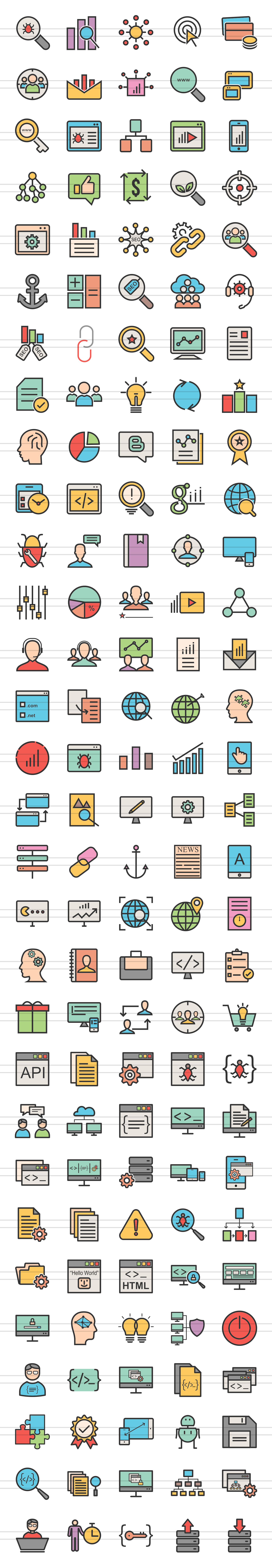 150 SEO & Development Filled Line Icons example image 6