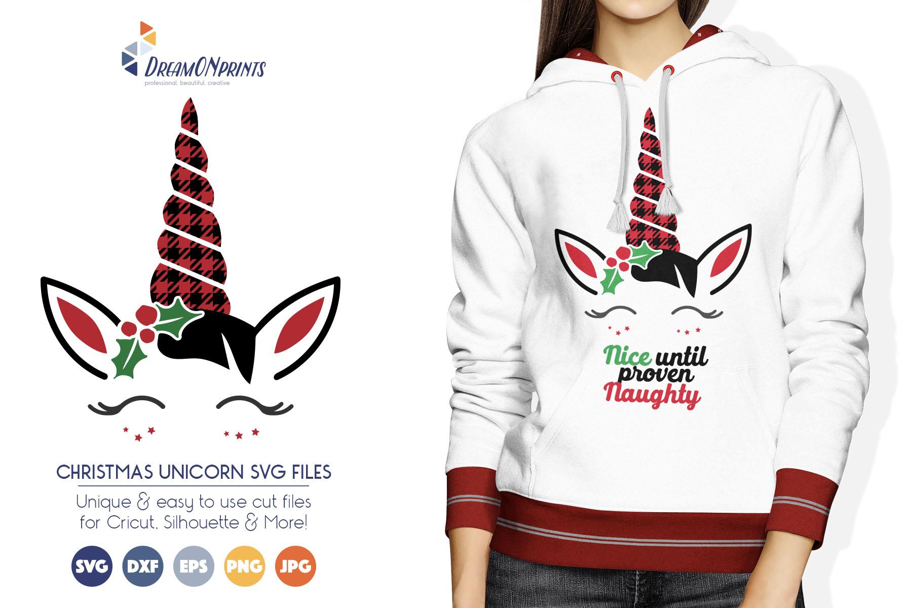 Christmas Unicorn SVG Cut Files - Buffalo Plaid Unicorn example image 1