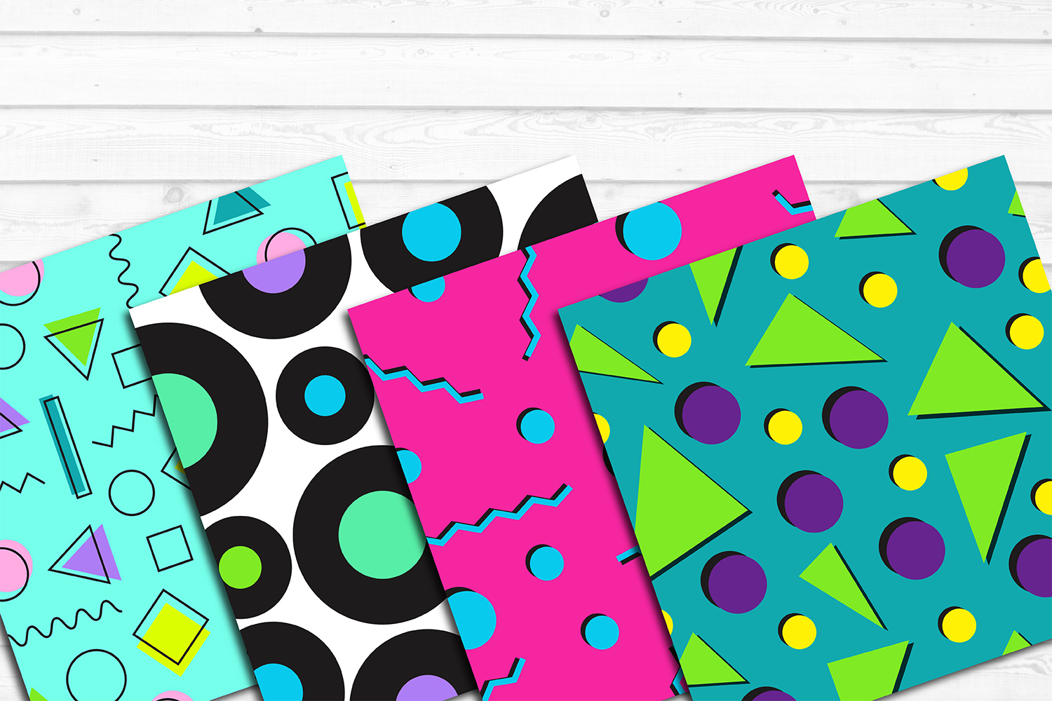12 80s 90s Style Retro Neon Pop Art Pattern Digital Papers example image 4