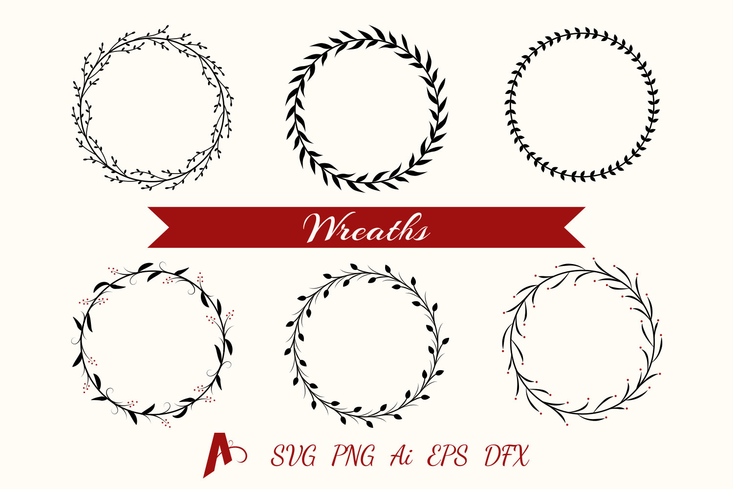 Decorative Wreaths. Floral frames vector elements. example image 1
