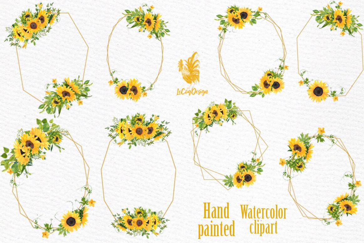Geometric Sunflower Floral Frames Clipart