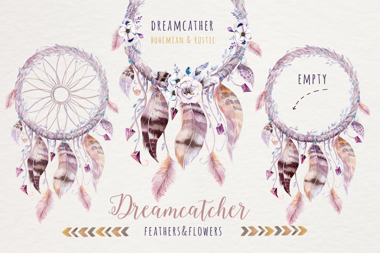 Watercolor dreamcathers II. Bohemian example image 4
