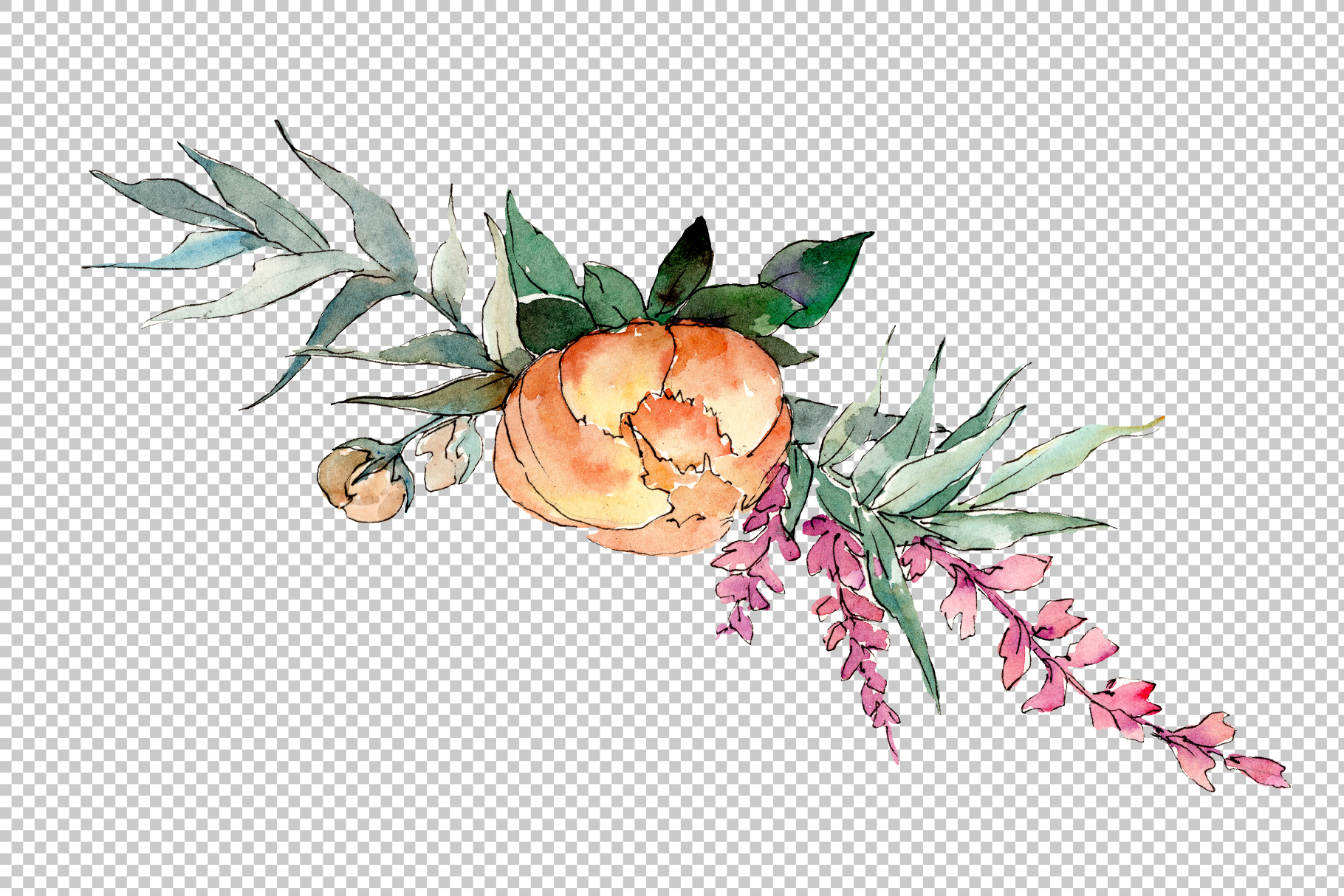 Bouquet Sunny mood watercolor png example image 3