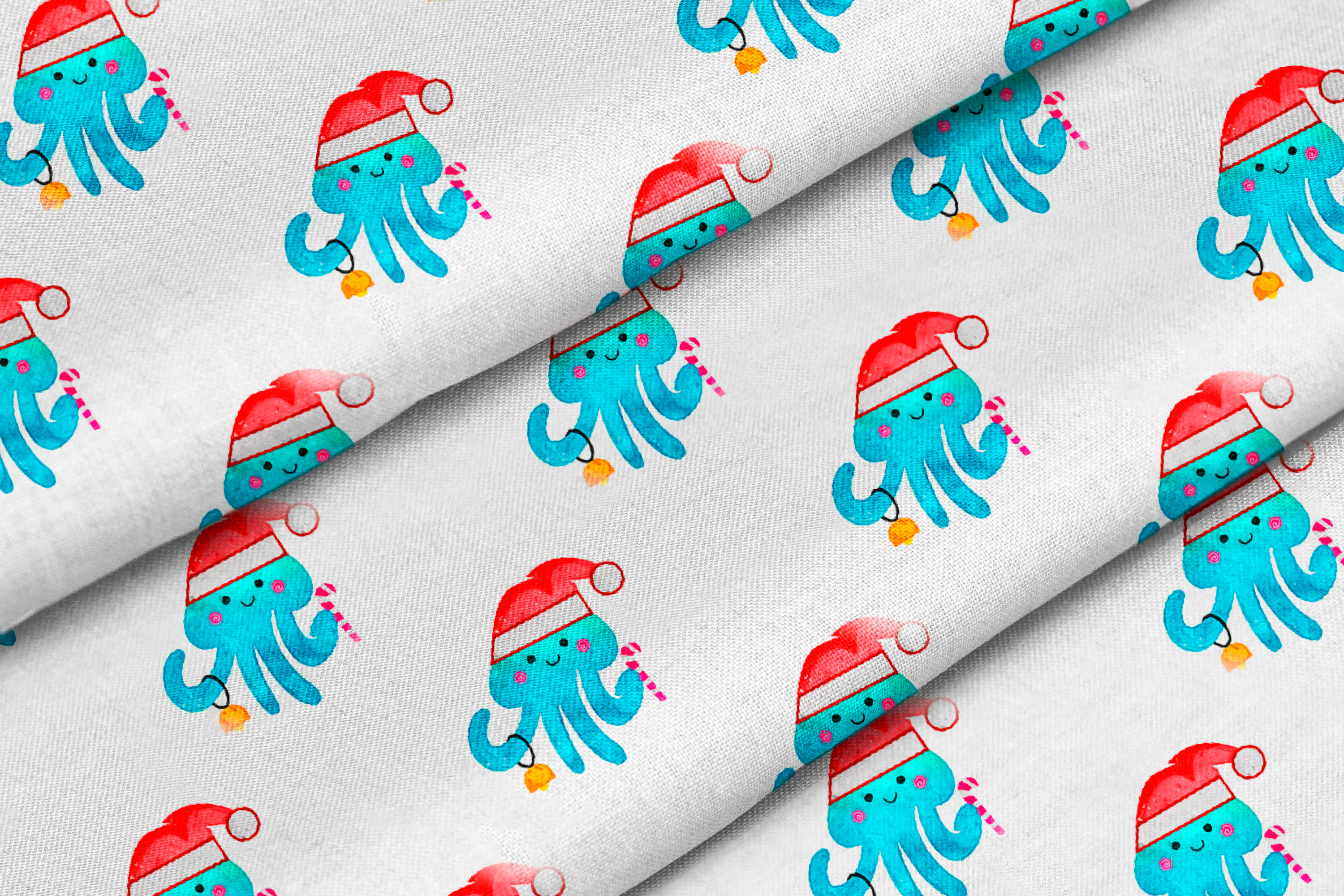 Christmas Jellyfish Watercolor Set and Vector Patterns example image 6