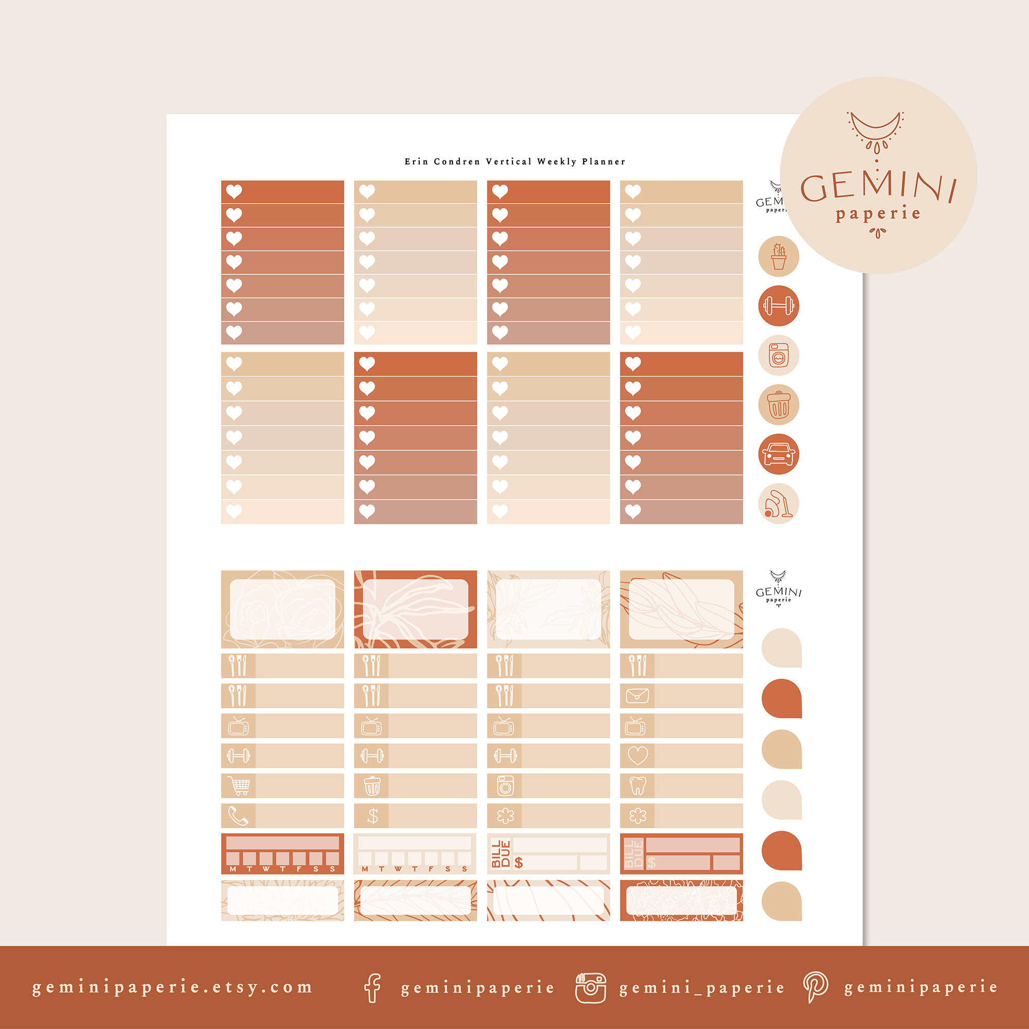 Printable Planner Stickers Weekly Kit for Erin Condren 2020 example image 3