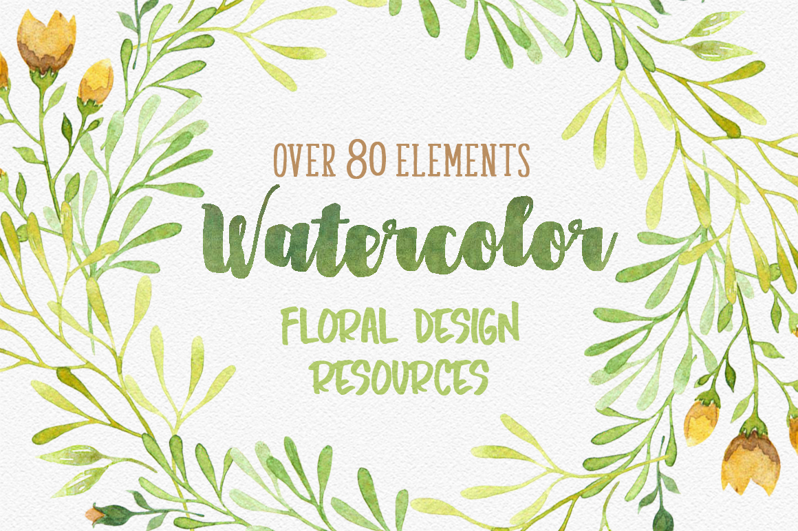 Watercolor floral design resources example image 1