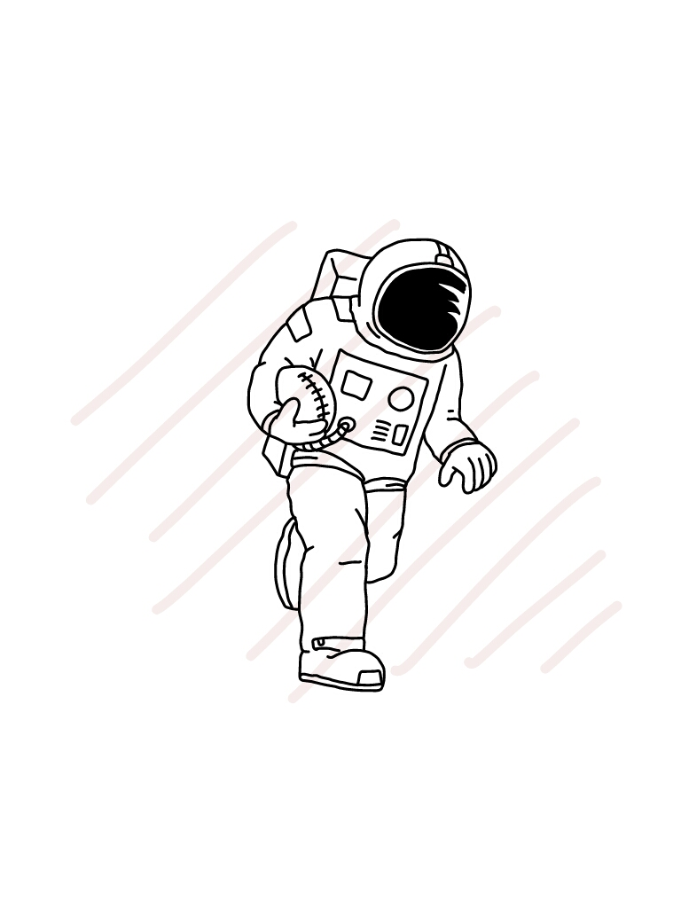 Astronaut Playing American Football - SVG/JPG/PNG Hand Drawing example image 2