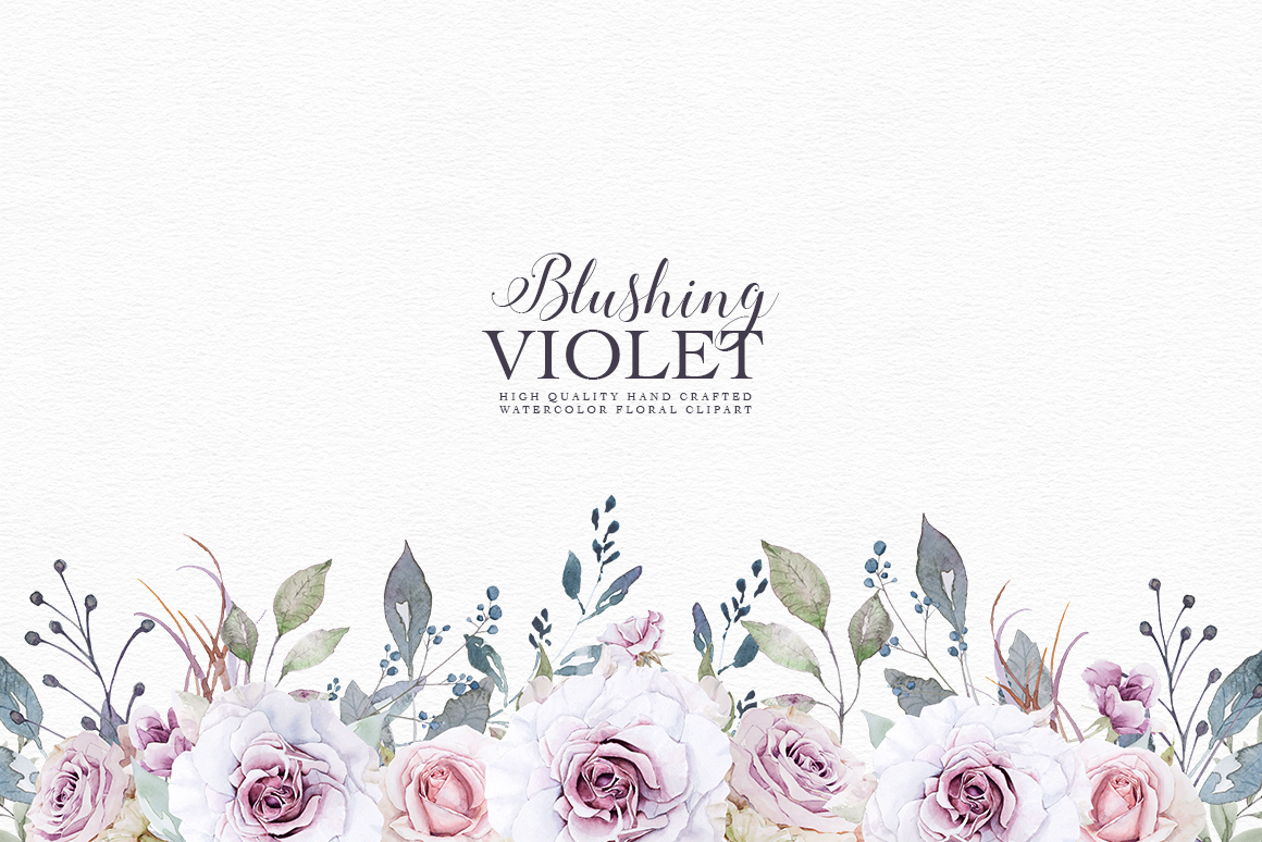 Blushing Violet Watercolor Clipart Collection example image 2