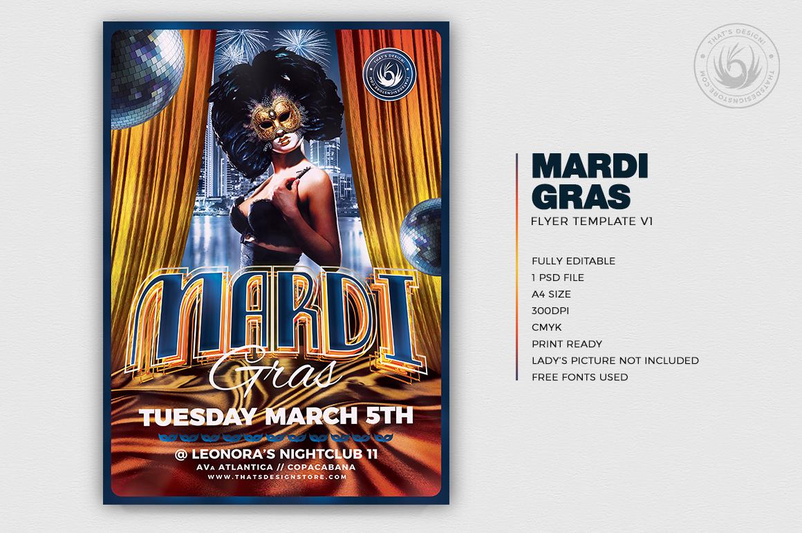 Mardi Gras Flyer Template V1 example image 2