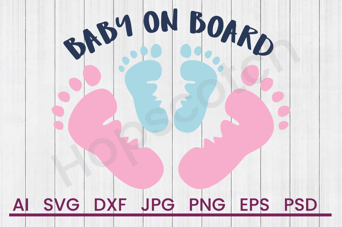 Footprints SVG, Baby on Board SVG, DXF File, Cuttatable File example image 1