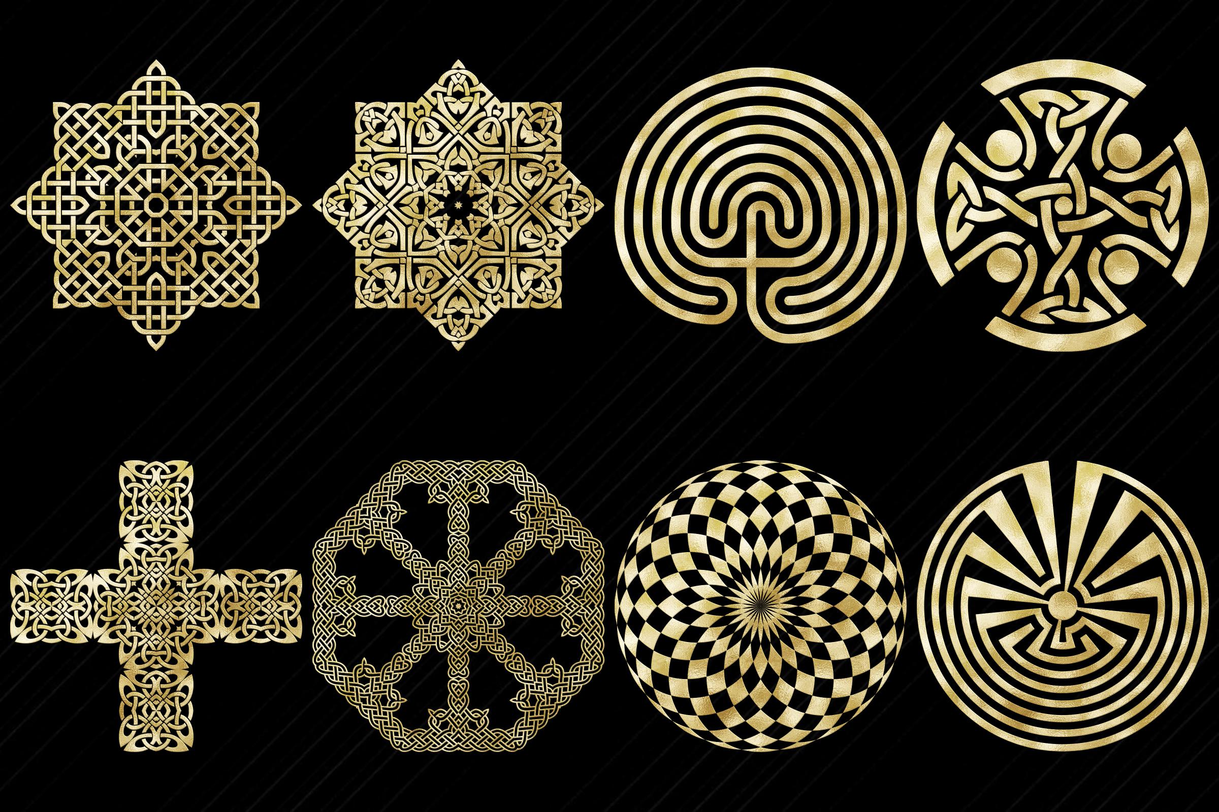 Gold Foil Labyrinth, Mandalas & Celtic Symbols Clip Art example image 4