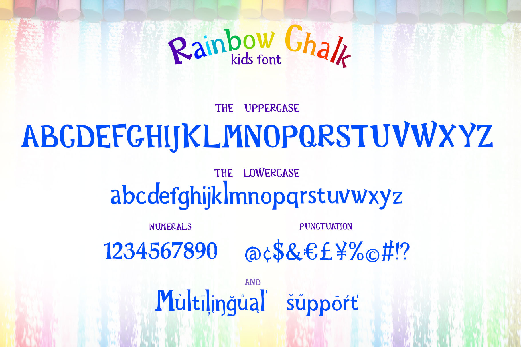 Rainbow Chalk fun kids font example image 2