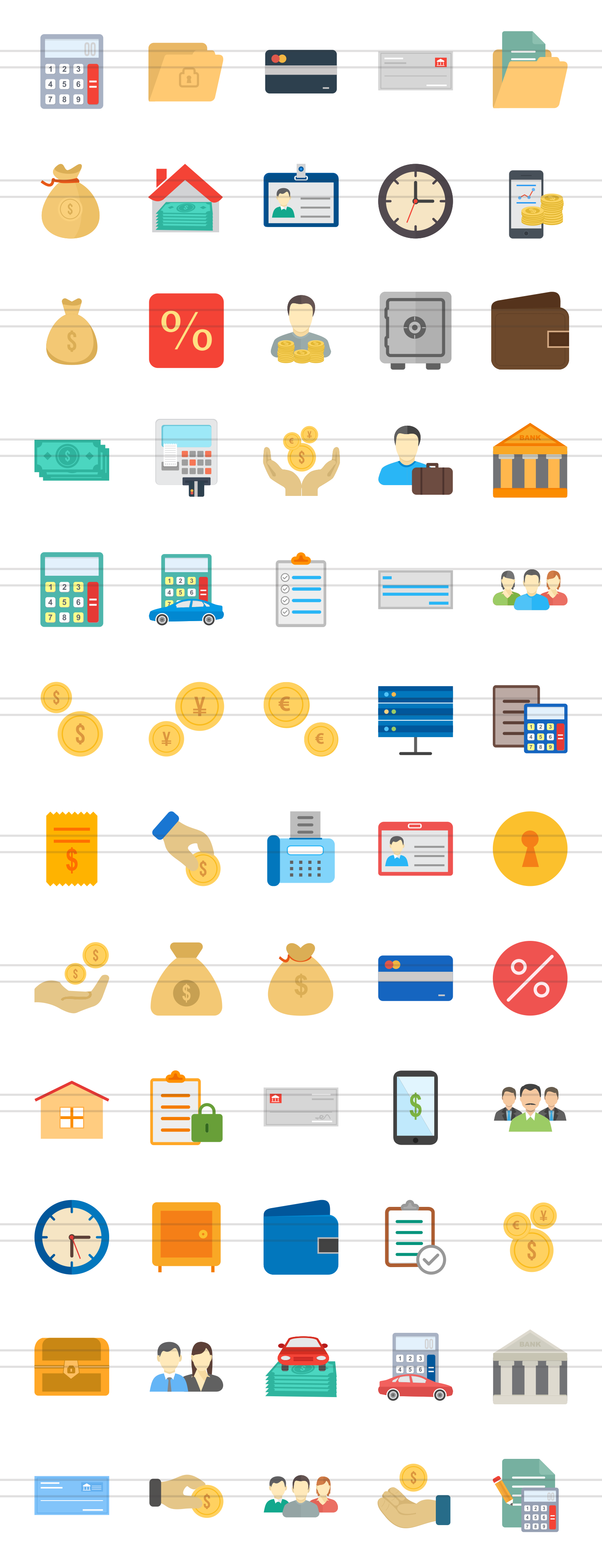 60 Banking Flat Multicolor Icons example image 2